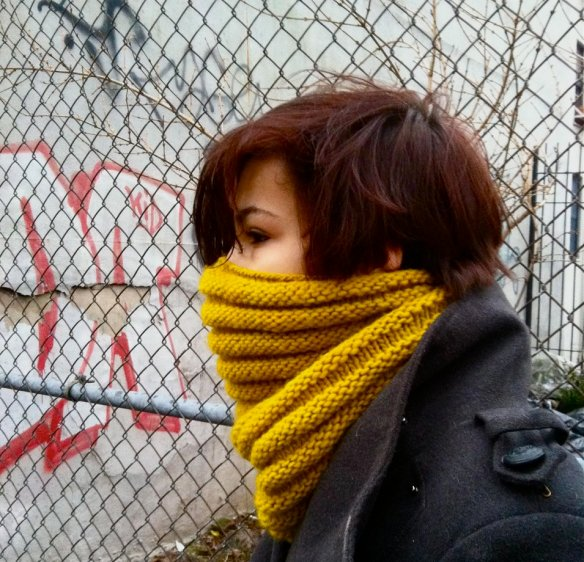 Oona modeling the super warm knitted bike cowl