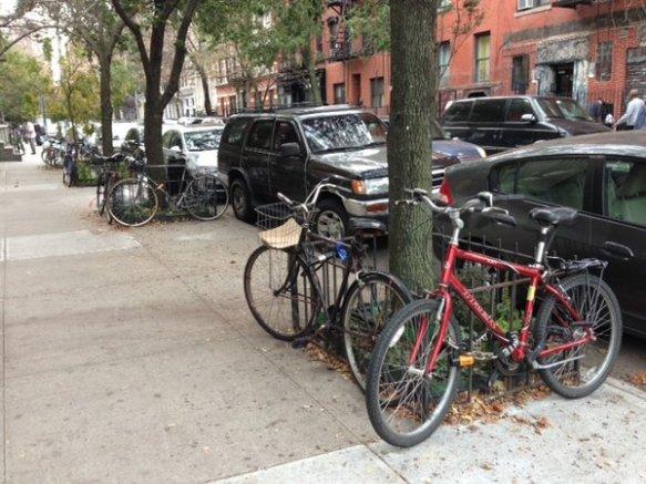 metal tree bed fences make for good bike parking