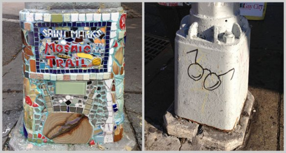 Elaborate lampost art on the Mosaic Trail on the left. And a whimsical Harry Potter tag on the right