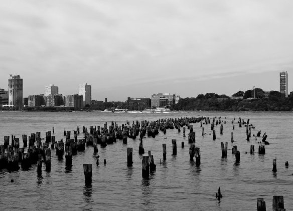 Remnants of an old pier on the Hudson River