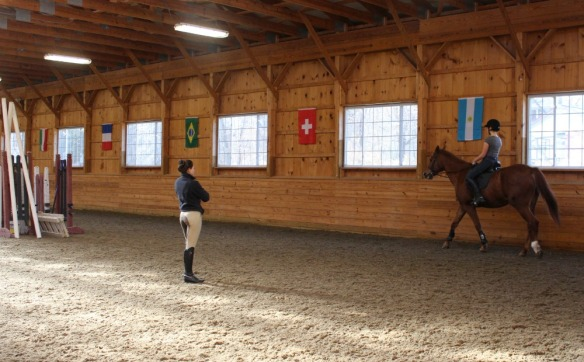 Camelia Montalvo teaching dressage lesson La Luna Farm, New Paltz NY